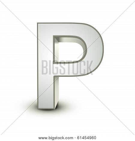 3D Alphabet Silver P