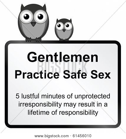 Monochrome comical practice safe sex sign isolated on white background poster