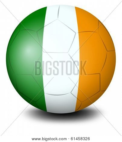 Illustration of a soccer ball with the flag of Ireland on a white background