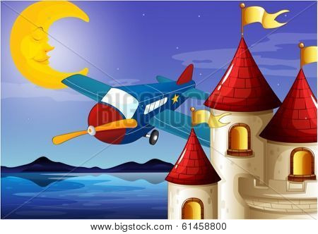 Illustration of a sleeping moon, an airplane and a castle