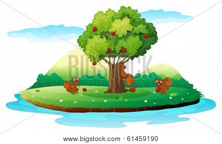 Illustration of an island with three playful beavers on a white background