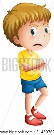 Illustration of an angry young boy on a white background