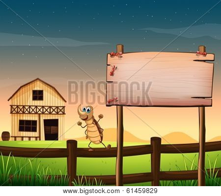 Illustration of an empty wooden signboard near the fence at the farm