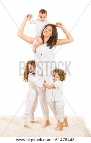 Happy Mom With Three Kids