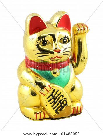Gold Maneki Neko Japan Lucky Cat Isolated with Clipping path poster