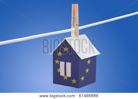 European Union flag printed on paper house