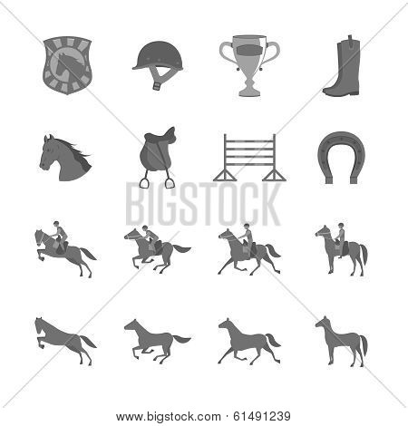 Horse with riders flat icons set