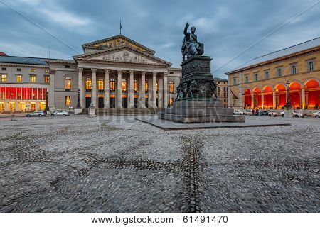 The National Theatre Of Munich, Located At Max-joseph-platz Square In Munich, Bavaria, Germany