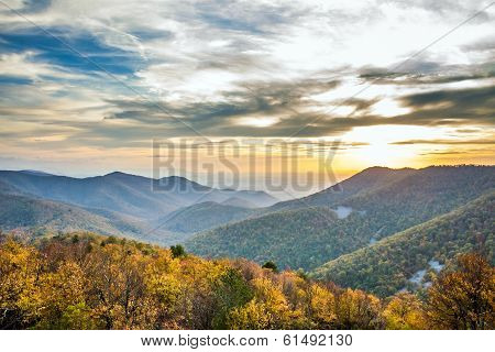 Shenandoah mountains sunset