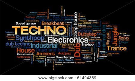 Electronic Techno Music Styles Word Cloud Bubble Tag Tree vector isolated on black