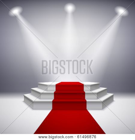 Illuminated stage podium with red carpet for award ceremony vector illustration poster