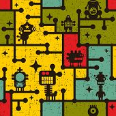 Robot and monsters on the tree colorful seamless pattern. Vector background. poster