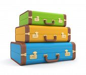 Three vintage suitcase poster