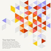 Vector geometric mosaic grey, yellow, blue triangle card document template. Hipster flat surface chevron zig zag print design or pastel colorful background illustration with empty space for text. poster