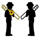 Trombone players silhouettes isolated on a white background poster