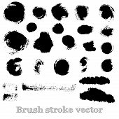 Set of real round brush strokes vector poster