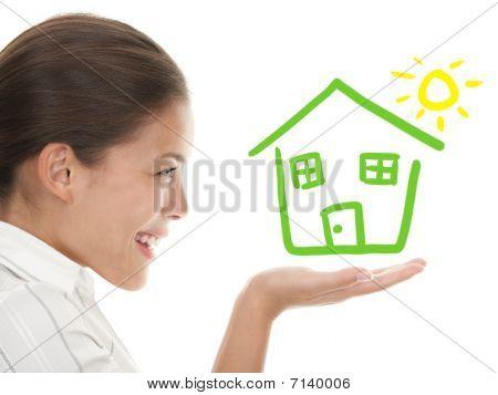 Idea de estar A casa feliz propietario concepto
