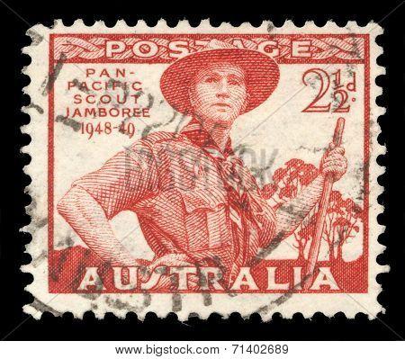 AUSTRALIA-CIRCA 1952: A stamp printed in Australia dedicated to Pan-Pacific Scout Jamboree, Victoria, portrayed Scout in Uniform, circa 1952