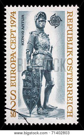 AUSTRIA - CIRCA 1974: A stamp printed in Austria, shows a bronze figure of