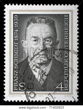 AUSTRIA - CIRCA 1974: a stamp printed in the Austria shows Franz Schmidt, Composer, Cellist and Pianist, circa 1974