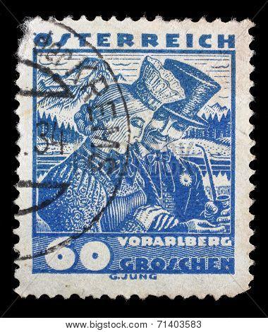 AUSTRIA - CIRCA 1932: stamp printed by Austria, shows Vorarlberg bridal couple, circa 1932