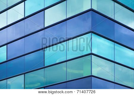 Modern Office Facade Fragment With Blue Green Glass