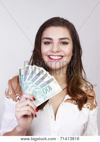 brunette woman smile with hundred reais, money of brazil poster