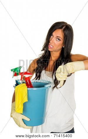 a young woman annoyed that they have to do the house cleaning.