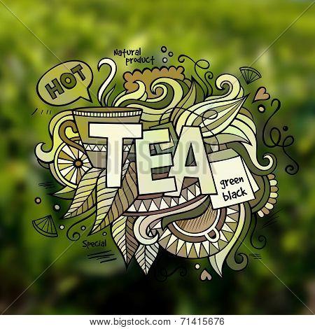 Tea hand lettering and doodles elements illustration