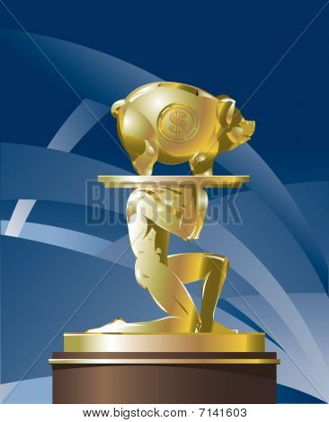 Atlant carrying golden piggy bank on a platter