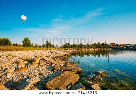 Seacost Seashore Sea Water Coastline During Sundown In Tallinn Estonia poster