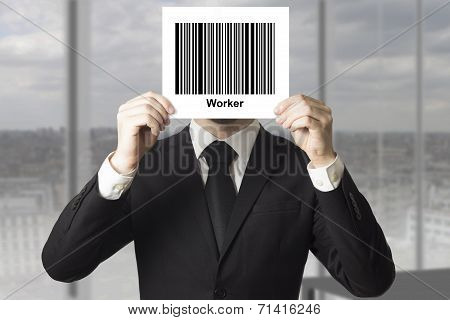 Businessman Hiding Face Behind Barcode Worker