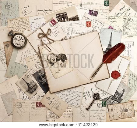 Empty Open Diary Book, Old Accessories, Postcards