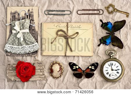 Vintage Things. Nostalgic Scrap Booking Background