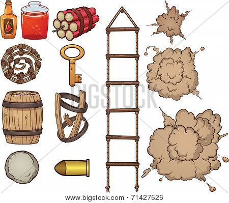 Old west items. Vector clip art illustration with simple gradients. Each item on a separate layer.