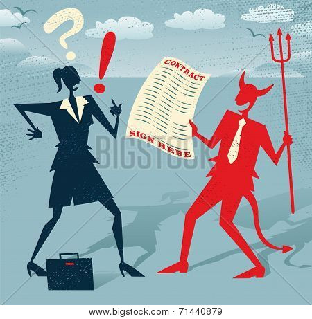 Abstract Businesswoman Signs A Deal With The Devil.