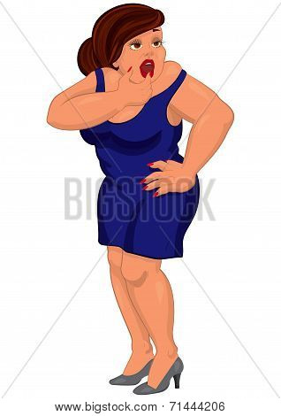 Cartoon Young Fat Woman In Blue Dress Touching Her Lips