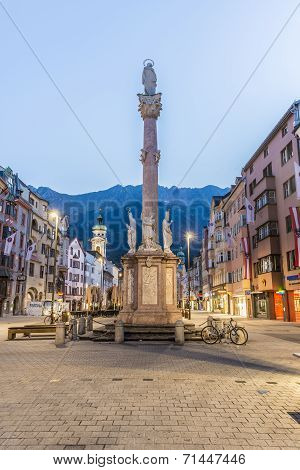 INNSBRUCK AUSTRIA - AUG 16: St Anne Column (Annasaule) is a statue of the Virgin Mary in Maria-Theresien Street and one of its most famous landmarks on Aug 16 2013 in Innsbruck Austria. poster
