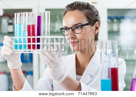 Woman Analyzing Test Tube With Liquid