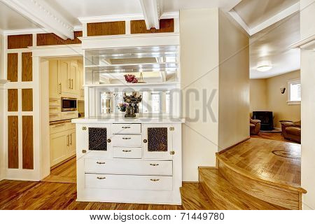 Beautiful White Cabinet Serving As A Wall Between Dining And Kitchen Room