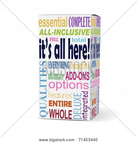 It's All Here Words On Product Box
