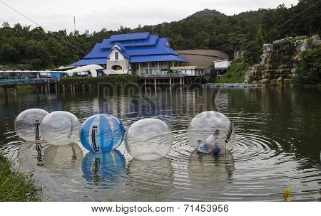 The Unidentified Kids Are Playing Zorbing In A Pool In Chiangmai Zoo