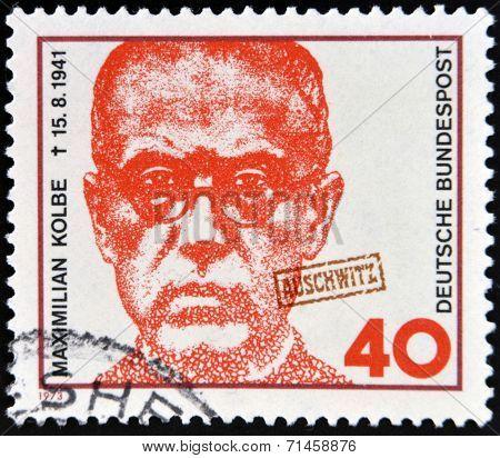 GERMANY - CIRCA 1973: a stamp printed in Germany shows Maximilian Kolbe Polish Priest