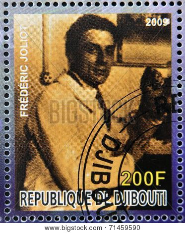 DJIBOUTI - CIRCA 2009: stamp dedicated to French Nobel chemistry prize shows Frederic Joliot