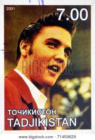 TAJIKISTAN - CIRCA 2001: stamp printed in Tajikistan shows Elvis Presley circa 2001