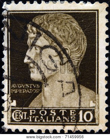 ITALY - CIRCA 1929: A stamp printed in Italy shows Augustus Caesar circa 1929