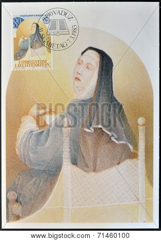 LIECHTENSTEIN - CIRCA 1983: A stamp printed in Liechtenstein shows Hildegard of Bingen circa 1983