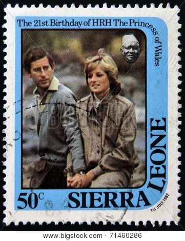 SIERRA LEONE - CIRCA 1982: A stamp printed in Sierra Leone shows he princess of Wales Diana