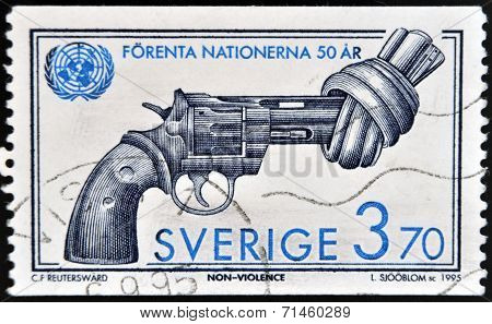SWEDEN - CIRCA 1995: A stamp printed in Sweden shows Image of Non Violence sculpture