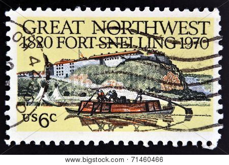 UNITED STATES OF AMERICA - CIRCA 1970: A Stamp printed in USA shows the Fort Snelling Keelboat